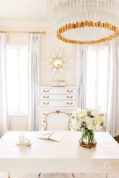 Glam Home Office Reveal – Randi Garrett Design – Home Office Design Diy Interior Design Career, Home Office Design, Interior Blogs, Bright Homes, Workspace Inspiration, Custom Drapes, Do It Yourself Home, Elegant Homes, Decor Styles