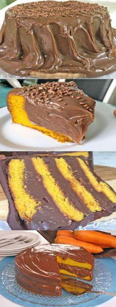 Bolo de cenoura de liquidificador com cobertura de chocolate - Baking Recipes, Cake Recipes, Dessert Recipes, Desserts, Food Wishes, Good Food, Yummy Food, Carrots Cake, Creative Food