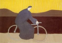 1954, Milton Avery (American artist, 1885-1965) Bicycle Rider by the Loire  It's About Time: The Paintings of American, Milton Avery 1888-1965