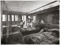 S.S. Normandie, Stateroom #57 with private veranda, Cabin Class, ca. 1935