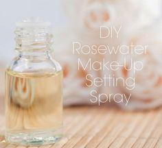 rosewater makeup setting spray: (1/2tsp Glycerin + 1/2cup Rose water + 1-3drops of an essential oil — jojoba / Tamanu / rosehips / evening primrose / gerranium / teatree etc)