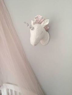 Faux Taxidermy Unicorn Head Fabric Wall Mounted Animal Head