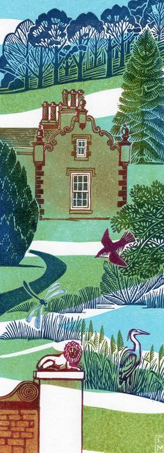 I looove the details in the trees, the colors and the feel of this • Clare Melinsky ~ Linocut Illustration