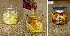 """Cómo preparar un té especial para dolor de garganta.   Ingr:  Recipiente de vidrio con tapa  1 Limón en rodajas  Miel de abeja pura  Jengibre en rodajas  Agua hirviendo   Instrc  En un recipiente de vidrio, combinar las rodajas de limón, miel de abejas y el jengibre en rodajas. Cerrar el recipiente y colocarlo en la nevera, (se forma en una """"gelatina""""). Para servir: una cucharadita en una taza y vierte agua hirviendo sobre ella. Conservar en nevera 2-3 meses."""