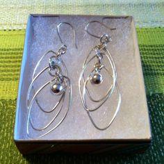 Earrings (Oval Hoops with Bead)