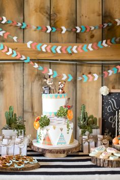 "Chalk this birthday party up under the ahhhdorable category! Krista Lii dreamed up a modern, stylish party for her two little ones based around her family's motto of ""All good things are wild and free"", and the results are spectacular! Cute"