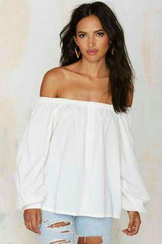 3c5deecd9 Blusa Ombro A Ombro, Blusas De Algodão, Camisa Blusas, Parte Superior  Branca Do