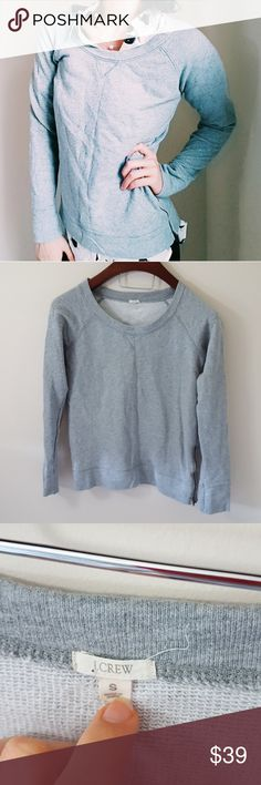 J. Crew | gray sweatshirt with side zipper | S In excellent condition! Beautiful J. Crew sweatshirt, size small, loose fit. Side zipper detail. Some sparkle threading! Used item- inspected for quality. Any wear or use is shown in pictures. Bundle up! Offers always welcome:) J. Crew Tops Sweatshirts & Hoodies