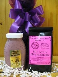 Huckleberry Honey & Huckleberry Tea.  This herbal tea is delicious, from Montana Tea & Spice