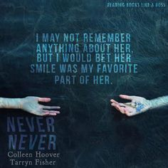 Book Review - Never Never Part One by Colleen Hoover and Tarryn Fisher   http://readingbookslikeaboss.com/book-review-never-never-part-one-by-colleen-hoover-tarryn-fisher/