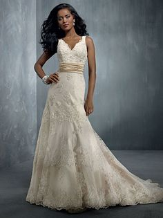 V Neck Lace Mermaid Wedding Ball Gown with Ruched  The sash would make your tummy look sleek! Plus I love the neckline.