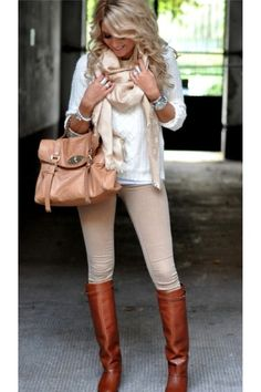 Fall Outfit: White Sweater + Pale/Blush Pink/Nude/Beige Scarf + Pale/Blush/Pink/Nude/Beige Skinnies/Leggings/Jeggings + Tan/Beige/Light Brown/Beige Bag + Camel/Cognac Knee High Boots