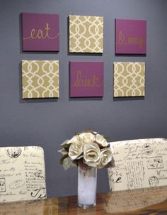 Eat Drink Be Merry Wine And Cream Wall Art Pack Of 6 Canvas Hangings Hand Painted Fabric Upholstered Dining Room Decor Modern Chic