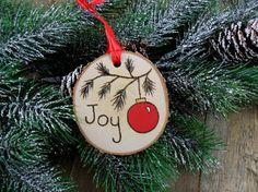 Wood Burned Birch Slice Ornament Hand Burned Painted Joy /