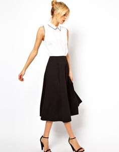 $50 ASOS | ASOS Midi Skirt with Stitch Waist Detail at ASOS