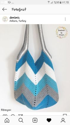 69 Ideas for chevron crochet bag pattern free Crochet Beach Bags, Free Crochet Bag, Crochet Market Bag, Crochet Tote, Crochet Handbags, Crochet Purses, Cotton Crochet, Love Crochet, Crochet Yarn