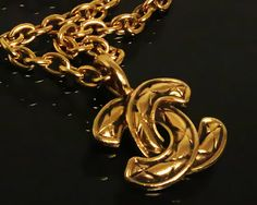 Vintage CHANEL Gold Quilted Logo Chain Necklace by fashionsquid