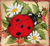 Floral - Ladybird Cushion Front Cross Stitch Kit by Vervaco Blackwork Cross Stitch, Cross Stitch Bird, Counted Cross Stitch Kits, Cross Stitch Embroidery, Cross Stitch Patterns, Cross Stitch Cushion, Cross Stitch Landscape, Cross Stitch Kitchen, Thick Yarn