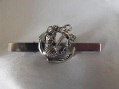 Mens Anchor and Mermaid Tie Clip Tie Bar Accessory by AGothShop, $20.00