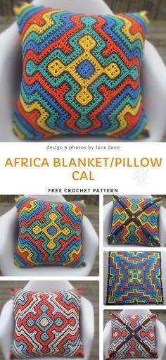 Africa Blanket/Pillow CAL Free Crochet Pattern - Daily Crochet Patterns - Knitting for beginners,Knitting patterns,Knitting projects,Knitting cowl,Knitting blanket Crochet Home, Free Crochet, Crochet Baby, Knit Crochet, Unique Crochet, Blanket Crochet, Chevron Blanket, Crochet Blocks, Square Blanket