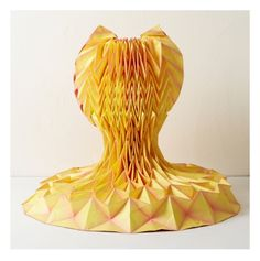 'Yellow Dress' Enfaltung (unfold, expand, develop) by Julie Waibel. Transforming simple sheet materials into 3-D objects.