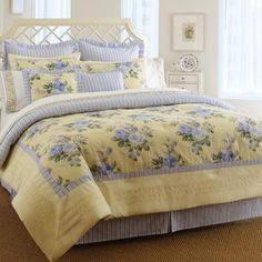 Shop for Laura Ashley Caroline Queen-size Comforter Set. Get free delivery On EVERYTHING* Overstock - Your Online Fashion Bedding Store! Get in rewards with Club O! Queen Size Comforter Sets, Bedding Sets, Chic Bedding, Queen Bedding, King Comforter, Dorm Bedding, Floral Comforter, Yellow Comforter, Blue And Yellow Bedding