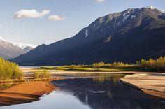 The Birkenhead River where it empties into Lillooet Lake near Pemberton, BC.