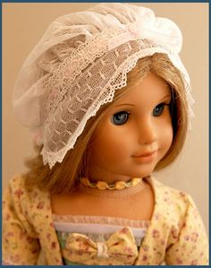 Lace mob cap for American Girl doll Elizabeth by Dollhouse Designs. Cap pattern is in original AG Felicity dress patterns Available FREE at http://www.agplaythings.com