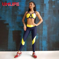 8a75fd10b8193 UMLIFE Women Yoga Set Fitness Gym Running Sports Suit Two-Piece Sexy Push  Up Bra Leggings Workout Clothes Sleeveless Yoga Sets