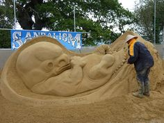 6 Week Old Foetus sand sculpture at the Glastonbury Festival. Produced and sculpted by Zara Gaze from sandalism.co.uk with a little help from Jamie Wardley and Dan Glover.