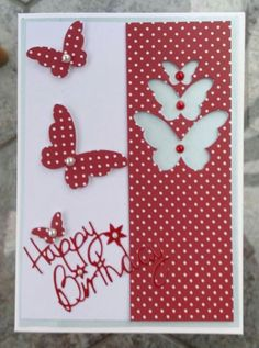 I like this idea but would make the butterflies on the right more random Bday Cards, Happy Birthday Cards, 70th Birthday Card, Simple Birthday Cards, Homemade Birthday Cards, Homemade Cards, Happpy Birthday, Tarjetas Diy, Cricut Cards