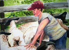 Choosing Sheep-watercolor