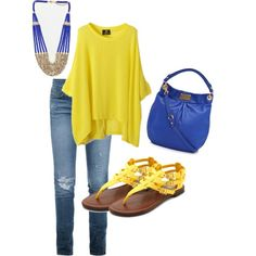 """Color: Blue and Yellow"" by karrina-renee-krueger on Polyvore"