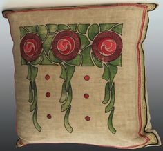 "Arts & Crafts Pillow with embroidered stylized flowers. Made from a stenciled kit. 18""w x 21""h www.treadwaygallery.com"