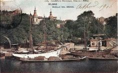 Bilbao, Arenal dock in full swing. Bilbao, Basque Country, Old Pictures, Sailing Ships, Paris Skyline, Barcelona, Spain, Boat, France
