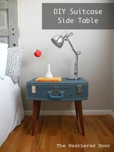 old doors made into benches | old suitcase turned side table, The Weathered Door via Remodelaholic ...