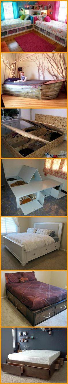 11 Space Efficient Do-It-Yourself Bed With Storage! Find the under bed storage system that works for you, including the link to full details and tutorial at http://theownerbuildernetwork.co/cjic