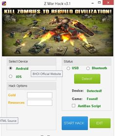 "Z War Hack Cheats Tool This Z War Hack will help you generate unlimited Gold and Resources   Z War Hack Cheat is our newest ""modhacks.com"" fresh from the oven. We worked hard on this one because,being a multi-platform Exploit it can be very difficult to write. After we tested this Z War Hack like someone's life depended … Continue reading Z War Hack Cheats"