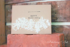 Say congratulations to the rustic, vintage bride with a card that will fit her just right. $5 on Etsy by Pokeberry Ink Press