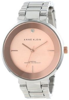 Relógio Anne Klein Women's AK/1281RGRT Genuine Diamond Accented Rose Gold-Tone Dial Silver-Tone Bracelet Watch #Relógio #Anne Klein