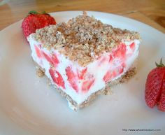 Frozen Strawberry Crumble Bars Shared on https://www.facebook.com/LowCarbZen