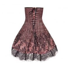 Pink Flared Corset Dress with Black Contrast Lace Mesh ❤ liked on Polyvore featuring dresses, lace cocktail dress, pink fit-and-flare dresses, mesh corset, lace mesh dress and mesh dress