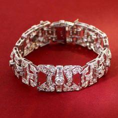 Art Deco platinum diamond bracelet w 6.34 ctw