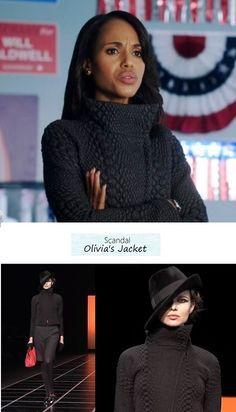 Scandal 215: Olivia Pope's (Kerry Washington) Giorgio Armani Fall 2012 gray textured jacket #tvfashion #outfits #fashion #style