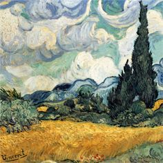 Van Gogh's Cypresses in a Wheatfield: In-depth analysis, featuring Van Gogh posters and art prints. #van_gogh