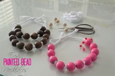 Make Easy DIY Wood and Ribbon Necklaces! (Spring Break Craft) tatertotsandjello.com