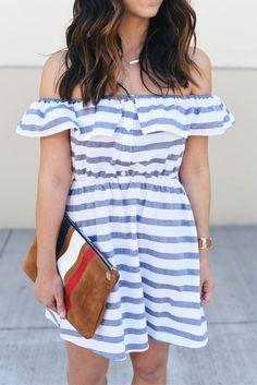 Asos stripe off the shoulder dress