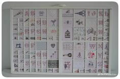 Casier_blanc_defilenlin Printers Drawer, Cute Little Things, Le Point, Cross Stitch Embroidery, Needlepoint, Needlework, Diy Crafts, Printer Tray, Display Cases