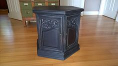 Antique Hexagon Side Table Black Chalk Paint by IvyandCompany Use the coupon code POSTCHRISTMAS to save 15%