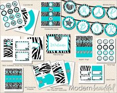 Black and turquoise zebra birthday party package, turquoise, black, zebra party, zebra birthday, happy birthday, printable, digital file
